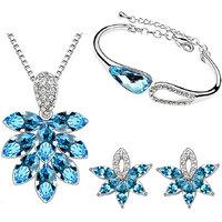 Cyan wishtree blue pendant set and bracelet combo for women