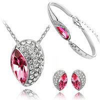 Cyan pink rhodium plated jewelry set and bracelet combo for women