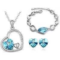 Cyan Heart in Heart Pendant set and bracelet combo for women