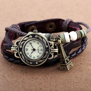new Black Bracelet Round Eiffel Tower Vintage Leather Analog Women Watch (SKU-105)