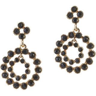 Urthn Alloy Black Floral Danglers Earrings - 1306719