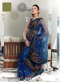 18 Fire Multicolor Net Embroidered Saree With Blouse