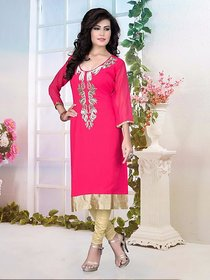 Pink Semi-Stiched Georgette Halfsleeves Kurti For Womens