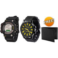 Jack Klein Stylish S-Shock Analog-Digital Watch And Maverick Sport Watch With Leather Wallet