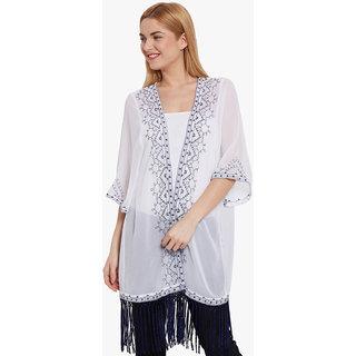 Anasazi White Cotton Solid Casual Summer Jacket