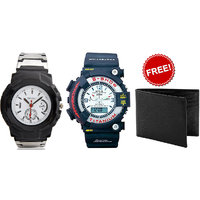 Combo Of Jack Klein Stylish S-Shock Analog-Digital Watch And Sport Watch With Leather Wallet