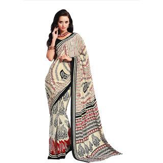 Aaina Cream  Black Crepe Printed Saree with Blouse (FL-11352)