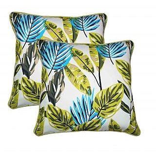 Lushomes Forest Print Cotton Cushion Covers (Size 16 x 16) Pack of 2