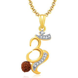 Sukkhi Om Gold And Rhodium Plated CZ Pendant For Women