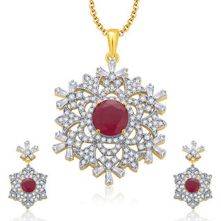 Sukkhi Fascinating Gold And Rhodium Plated Ruby CZ Pendant Set For Women