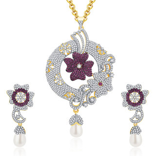 Sukkhi Pleasing Gold And Rhodium Plated CZ Pendant Set For Women