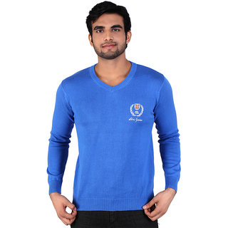 Alois Mens Full Sleeve 100 Cotton  V-Neck Sweator with Embroidery on  Wearers Left Chest