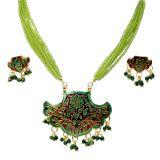 Green Designer Meenakari Brass Necklace Set 116 309890