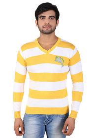 Alois Mens Full Sleeve 100 Cotton  V-Neck Striper  Sweator With Branding in Print On Wearers  Left  Chest.