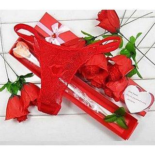 Valentine Red Rose Flower Panties- G string/Thongs- 1 Qty