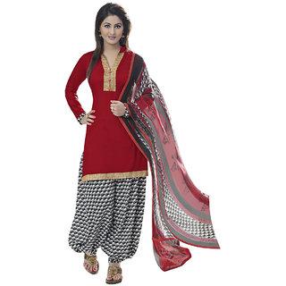 b845eedd95 Shopeezo Daily Wear Red Color Glas Cotton Dress MaterialRFS9002DRI83  (Unstitched)
