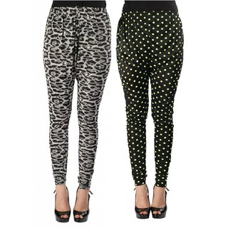 Wajbee Women Printed Cotton Lycra Legging-Pack of 2