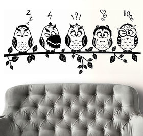Wall Sticker -Black Funny Owls Emotions@ New Way Decals(7533)