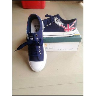 Blue Colored England Printed Casual Shoes