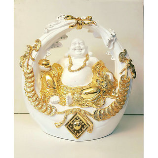 Gold Plated Laughing Buddha Fengshui statue