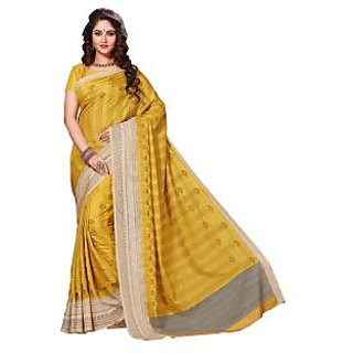 Aesha Yellow Silk Embroidered Saree With Blouse