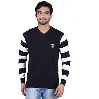 Alois Mens Full Sleeve 100 Cotton  V-Neck Striper  Sweator With  Embroidery  on Wearers Left Chest .