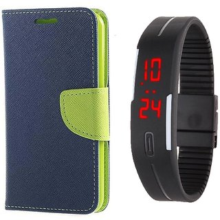 Wallet Flip Cover With Digital LED Watch For  Samsung Galaxy Core 2 G355