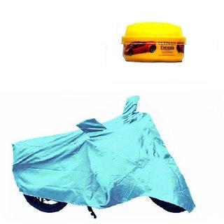 Bull Rider Bike Body Cover with Mirror Pocket for Mahindra Gusto (Colour Cyan) + Free Wax Shine Polish Worth Rs 100/