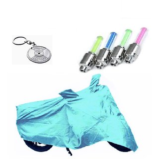 Bull Rider Bike Body Cover with Mirror Pocket for Hero Passion Pro TR (Colour Cyan) + Free (Key Chain + Tyre LED Light) Worth Rs 250