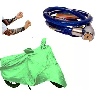 Bull Rider Bike Body Cover with Mirror Pocket for Hero Glamour (Colour Light Green) + Free (Helmet Lock + Arm Sleeves) Worth Rs 250