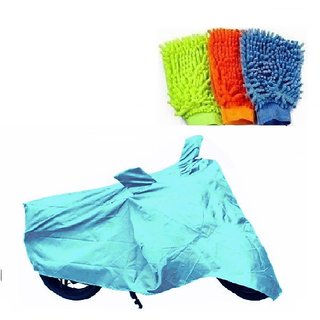 Bull Rider Bike Body Cover with Mirror Pocket for Suzuki Hayate (Colour Cyan) + Free Bike Cleaning Microfiber Gloves Worth Rs 100/