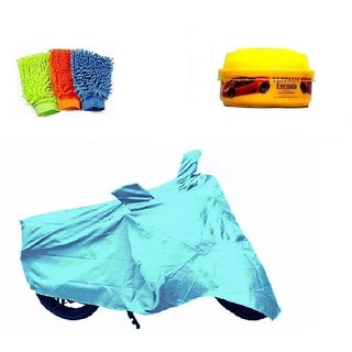 Bull Rider Bike Body Cover with Mirror Pocket for TVS JIUE (Colour Cyan) + Free (Microfiber Gloves + Wax Polish) Worth Rs 250