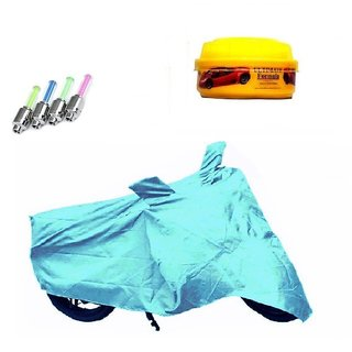 Bull Rider Bike Body Cover with Mirror Pocket for Bajaj Platina 100 ES (Colour Cyan) + Free (LED Light + Wax Polish) Worth Rs 250