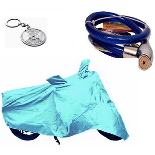 Bull Rider Bike Body Cover with Mirror Pocket for Hero Achiver (Colour Cyan) + Free (Key Chain + Helmet Safety Lock) Worth Rs 250