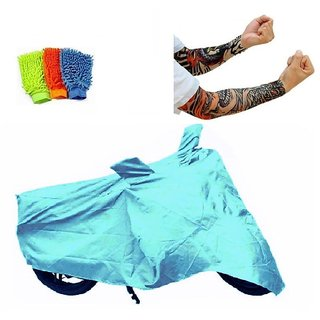 Bull Rider Bike Body Cover with Mirror Pocket for Bajaj New Discover 150 (Colour Cyan) + Free (Microfiber Gloves + Arm Sleeves) Worth Rs 250