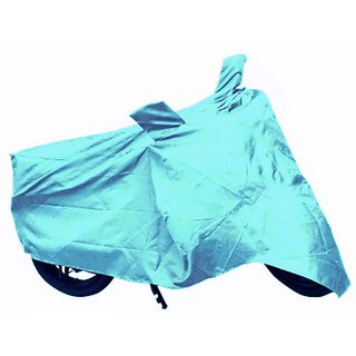 Bull Rider Bike Body Cover with Mirror Pocket for TVS HL HD - 2 STROKE (Colour Cyan)