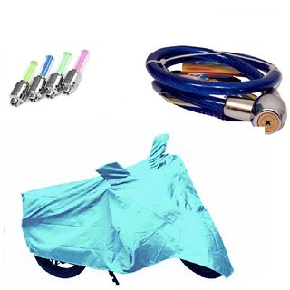 Bull Rider Bike Body Cover with Mirror Pocket for Mahindra Flyte (Colour Cyan) + Free (LED Light + Helmet Safety Lock) Worth Rs 250
