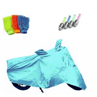 Bull Rider Bike Body Cover with Mirror Pocket for TVS JUPITER (Colour Cyan) + Free (LED Light + Microfiber Gloves) Worth Rs 250