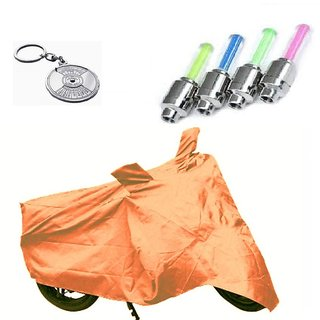 Bull Rider Bike Body Cover with Mirror Pocket for Orange (Colour Orange) + Free (Key Chain + Tyre LED Light) Worth Rs 250