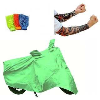 Bull Rider Bike Body Cover with Mirror Pocket for Bajaj Pulsar 200 NS (Colour Light Green) + Free (Arm Tattoo + Microfiber Gloves) Worth Rs 250