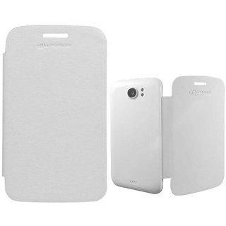 Flip Cover Back Replace Book Case for Micromax A110 Canvas 2 Superfone- White