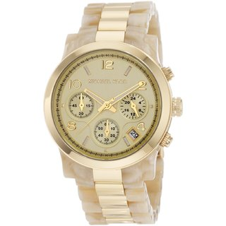 Michael Kors Two-tone Jet Set W Atch, Horn/gold For Women