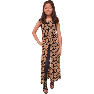 Titrit Mustard flowery long cape dress without legging