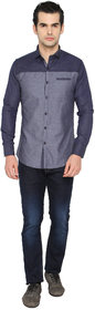 mode de base ITALIE Blue Slim Fit Casual Shirt