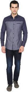 mode de base ITALIE Blue Slim Fit Casual Shirt