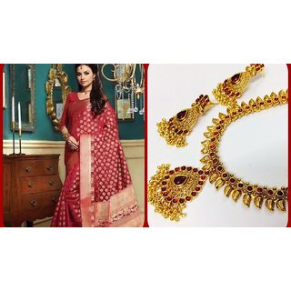 1a878cad5 Buy Banarasi Sarees With Temple Jewellery Combo Offer Online ...