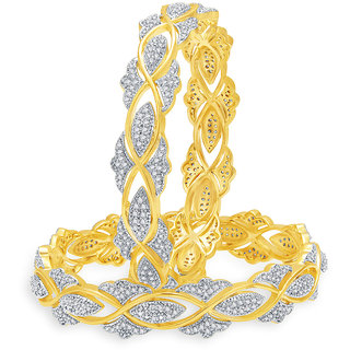 Sukkhi Glittering Gold And Rhodium Plated CZ Bangles For Women