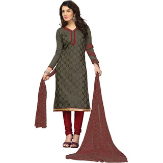 Lovely Look Dark Grey Embroidered Un-Stitched Straight suit LLKKFBRCRN1008
