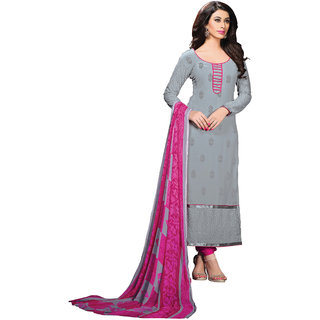 Lovely Look Grey Embroidered Un-Stitched Straight suit LLKKFBRCRV1002