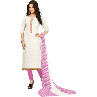 Parisha White Cotton Printed Salwar Suit Dress Material